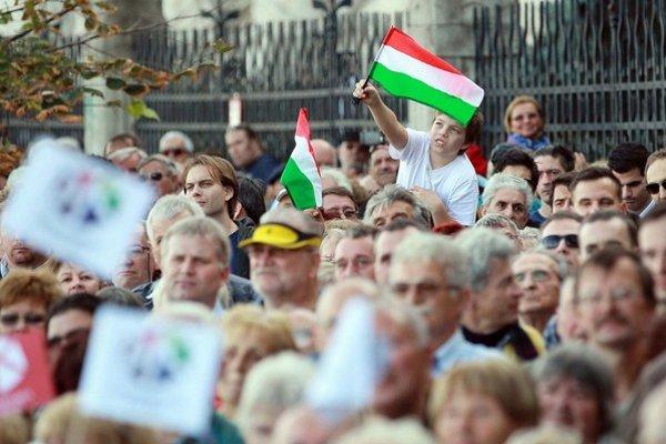 Na opozičnej demonštrácii v Budapešti.