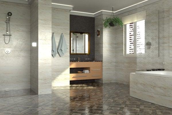 Kúpeľňa zariadená v štýle feng šui.