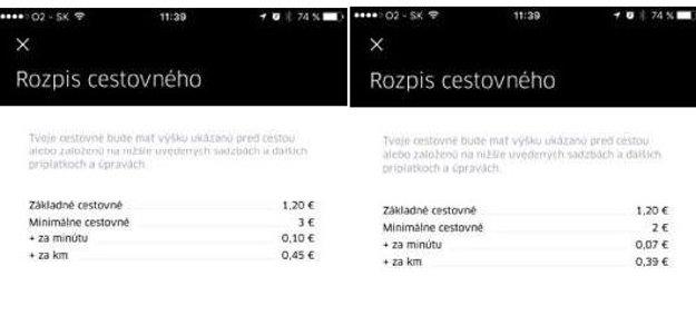 Základné sadzby pre Uber Select (naľavo), základné sazdby pre Uber (naprvo).