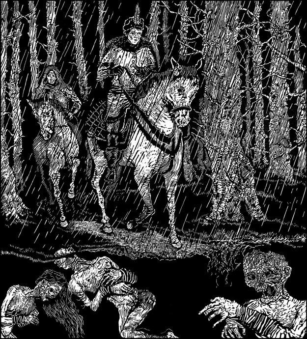 Taká temnota obostrela zem, že ani jeden jazdec nevidel svojho predného druha.