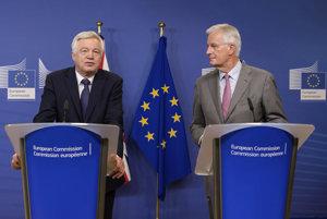 Britský minister pre brexit David Davis (vľavo) a hlavný vyjednávač za Úniu Michel Barnier (vpravo).