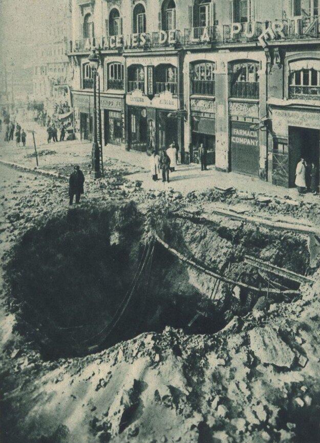 Záber zo zničeného Madridu.