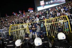 Ilustračná fotografia zo zápasu Srbsko - Albánsko.