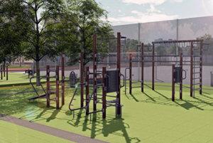 Športová zóna s dynamickými fitnes prvkami na gumenom povrchu.