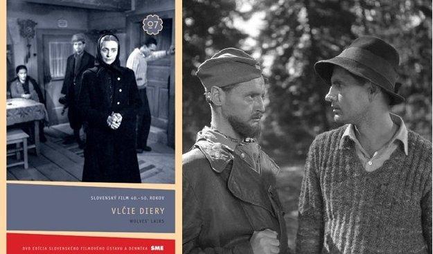 Ján Jamnický ako veliteľ partizánov Marián (vľavo) v legendárnom vojnovom filme Vlčie diery (1947)