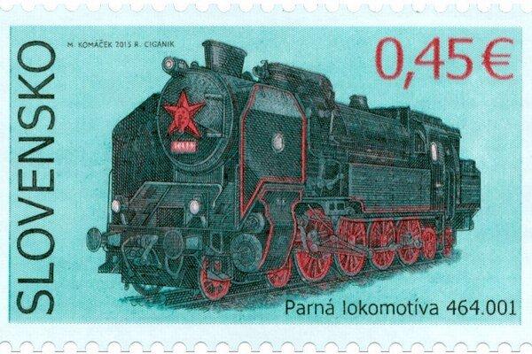 Na novej známke je parná lokomotíva Ušatá.
