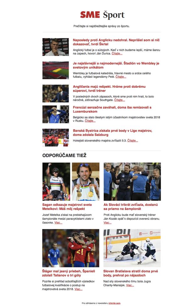 Športový newsletter SME.sk.