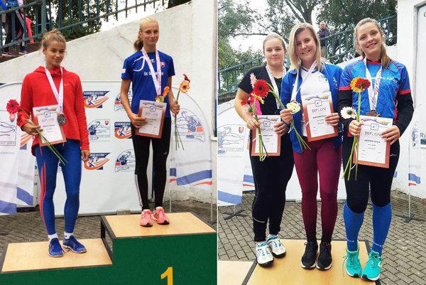 Na ľavej snímke ako víťazka Andrea Švecová (ŠK ŠOG Nitra), vpravo v strede Emma Ďurovská (AC Stavbár Nitra).