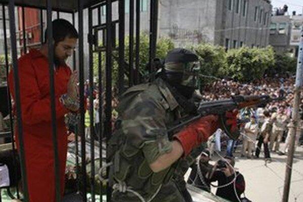 Demonštrácia zorganizovaná hnutím Hamas v Gaze.