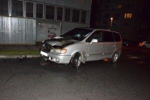 Zhorený hyundai.Škoda bola odhadnutá na 1500 eur.
