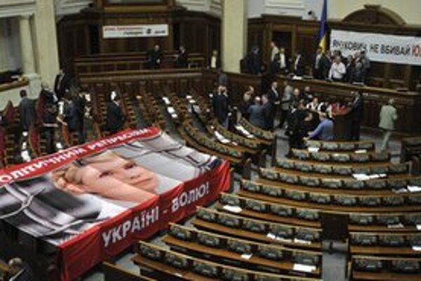 Aktivisti s plagátom na podporu Tymošenkovej.
