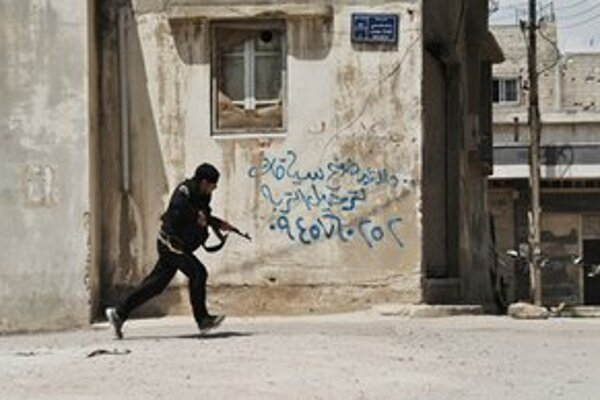 Povstalec v meste Homs.