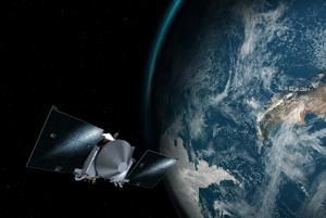 Umelecká vizualizácia sondy OSIRIS-REx a planéty Zem.