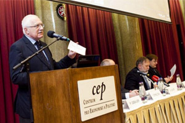 Klaus na konferencii o nízkoenergetických domoch.