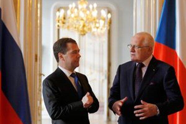 Dmitrij Medvedev a Václav Klaus.