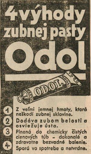 Reklama z dobových košických novín na zubnú pastu Odol.