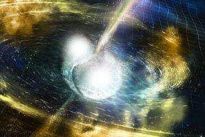 Ilustrácia zrážky dvoch neutrónových hviezd.