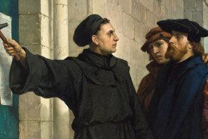Luther pribíja tézy na stenu katedrály.