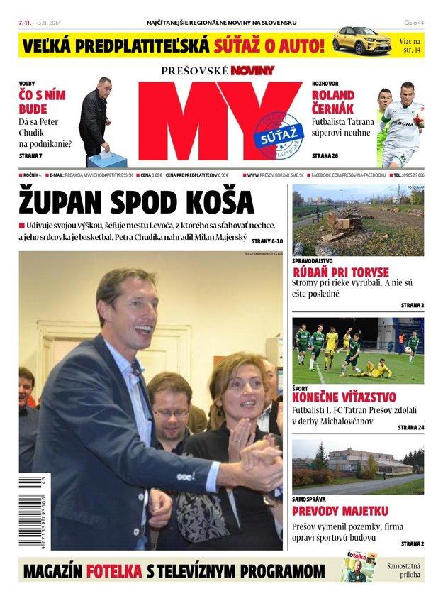 Titulná strana týždenníka MY Prešovské noviny č. 44/2017.