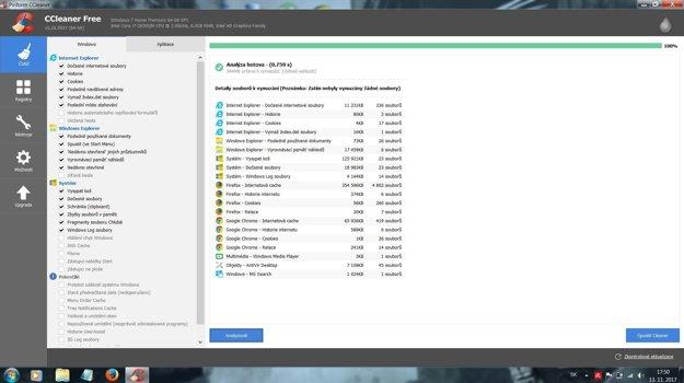 CCleaner je známy tým, že dokáže počítač zbaviť zbytočných súborov. Stačí ho zapnúť a kliknúť na Spustiť Cleaner. Samozrejmosťou je možnosť vybrať si, ktoré súbory sa majú zmazať.