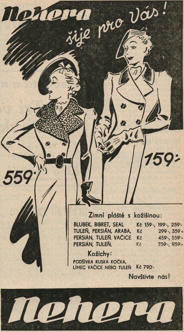 Dobová reklama na zimné oblečenie.