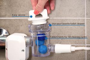 Zásobník na čistiace prostriedky a tablety.