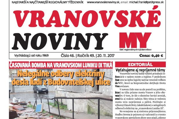 Titulná strana týždenníka Vranovské noviny č. 46/2017.