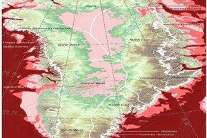 Slabo-ružová označuje regióny pod hladinou mora, tmavo-ružová ukazuje miesta s hĺbkou pod 200 metrov a tmavočervená ukazuje regióny, ktoré sú sústavne hlbšie ako 300 metrov.