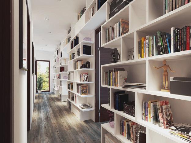 Chodba má okrem funkcie komunikačného uzla aj funkciu skladovacieho priestoru či veľkej knižnice.