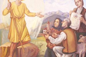 Zuberčania dávajú svoj kostol pod ochranu sv. Vendelínovi. Nástenná maľba vkostole.