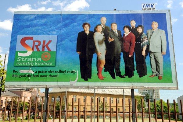 Bilbord Strany rómskej koalície vo volebnej  kampani 2010.