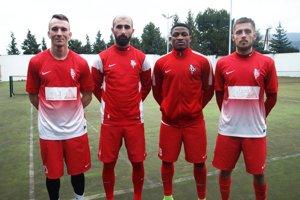 Časť nových tvárí v ŠKF: zľava Ľubomír Ulrich, Vahagn Militosjan, Bankole Adekuoroye a Lukáš Mihálik.