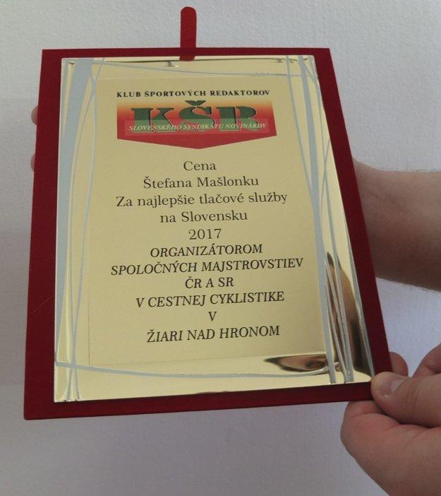 Cena Štefana Mašlonku smerovala koncom roka do Žiaru.