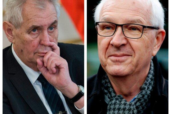 Český prezident Miloš Zeman (vľavo) a jeho súper vo voľbách Jiří Drahoš (vpravo).