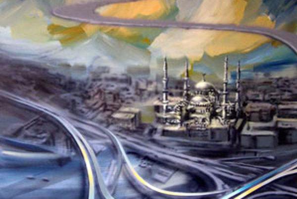 Obraz (akryl a olej na plátne) nazval umelec One way.