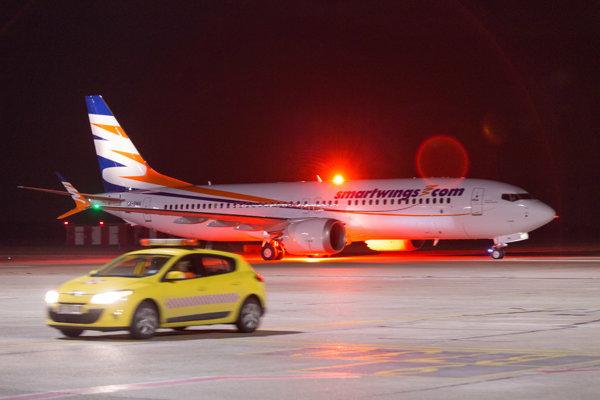 Nový typ lietadla Boeing 737 MAX 8 na Letisku M. R. Štefánika v Bratislave.
