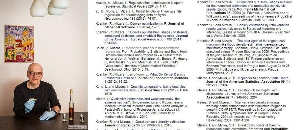 Anton Zelený dnes. Profesor Ivan Mizera a čiastočný zoznam jeho odborných prác z oblasti matematickej štatistiky.