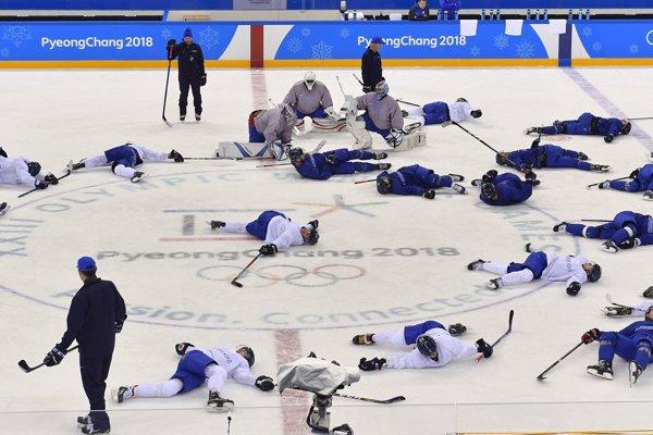 Hráči slovenskej hokejovej reprezentácie na tréningu.