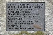 Detail pamätníka na miestach bitky pri Trenčianskej Turnej v miestnej časti Hámry.