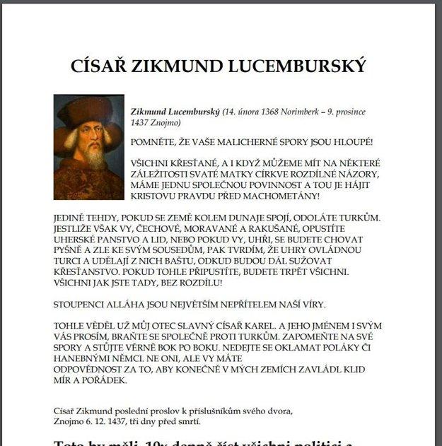 Údajný citát Žigmunda Luxemburského o Turkoch je hoax.