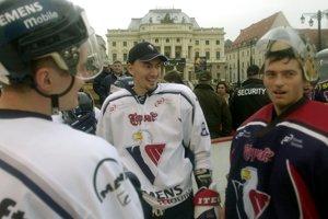Pavol Rybár spolu s Miroslavom Šatanom v drese Slovana Bratislava.