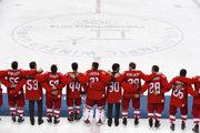 Hokejisti z tímu Olympijskí športovci z Ruska si po víťaznom finále na ZOH 2018 zaspievali vlastnú hymnu.