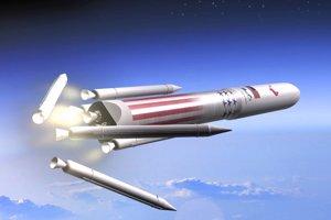 Ilustrácia rakety Vulcan. Použité motory sa vracajú späť na Zem.