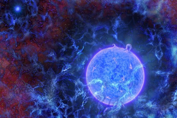 Umelecké zobrazenie jednej z prvých hviezd vo vesmíre.