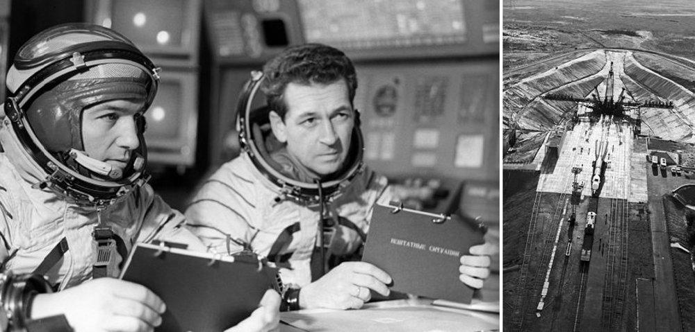 Oleg Makarov a Vasilij Lazarev pred štartom Sojuzu 18a. Vďaka havárii zažili preťaženie až 21 G. Vpravo Sojuz 18a na štartovacej rampe Bajkonur.
