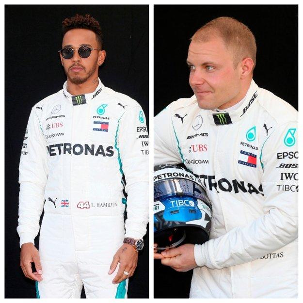Fín Valtteri Bottas (vpravo) a  Brit Lewis Hamilton.