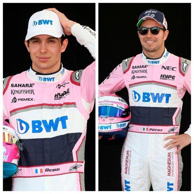 Mexičan Sergio Perez (vpravo) a Francúz Esteban Ocon.