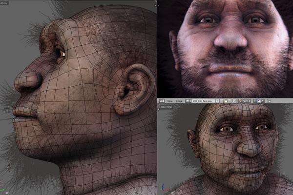 Podoba vyhynutého druhu pravekého človeka  - Homo erectus pekinský.