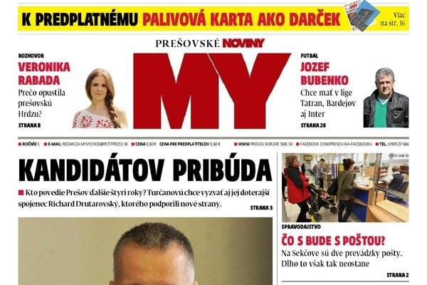 Titulná strana týždenníka MY Prešovské noviny č. 13/2018.