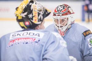 Zľava: Brankári slovenskej hokejovej reprezentácie Denis Godla a Dávid Hrenák .